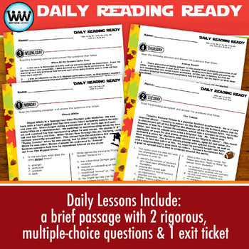 DAILY READING READY for October ~ 3rd Grade Daily Reading Review {TEKS-aligned}