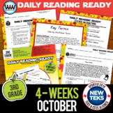 3rd Grade Daily Reading Spiral Review for October New ELA TEKS