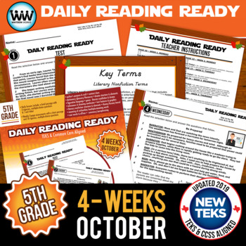 DAILY READING READY for October ~ 5th Grade Daily Reading Review {TEKS-aligned}