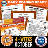 5th Grade Daily Reading Spiral Review for October New ELAR TEKS