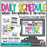 DAILY Schedule Templates and Timers  | Distance Learning |