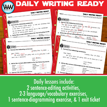 DAILY WRITING READY for December ~ 4th Grade Daily Language Review