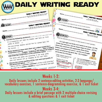 DAILY WRITING READY for February~ 4th Grade Daily Language Review {TEKS-Aligned}