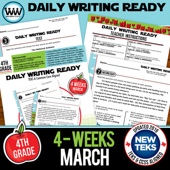 DAILY WRITING READY for March ~ 4th Grade Daily Language Review {TEKS-aligned}