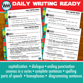 DAILY WRITING READY for October ~ 4th Grade Daily Language Review