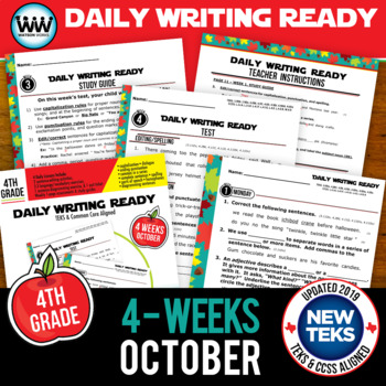 DAILY WRITING READY for October ~ 4th Grade Daily Language Review {TEKS-aligned}