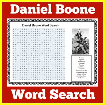 Daniel Boone Worksheet | Daniel Boone Pioneer | Daniel Boone Word Search