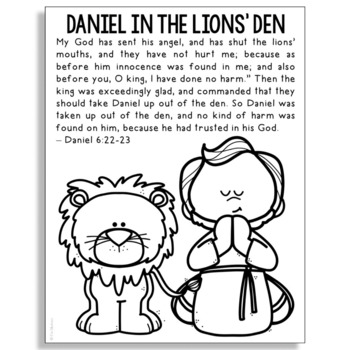 Daniel In The Lions Den Bible Story Coloring Page Religious Craft Activity