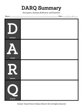 DARQ: Description, Analysis, Reflection, & Questions [Portrait, Letter Boxes]