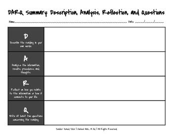 DARQ Summary: Description, Analysis, Reflection, & Questio