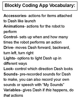 DASH Robot Apps and Vocabulary