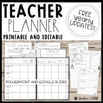 photo about Free Printable Teacher Planner referred to as DATED Printable Instructor Planner Templates ❘ Editable Trainer Binder Free of charge Upgrades