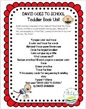 DAVID GOES TO SCHOOL TODDLER BOOK UNIT