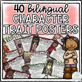 40 BILINGUAL Character Trait Posters for the Whole School Year!