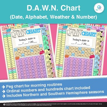 DAWN - Daily Date, Weather, Alphabet, Number chart for calendar poster