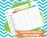 DAYCARE MONTHLY MEAL PLANNER