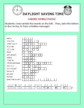 DAYLIGHT SAVING TIME: A WORD JUMBLE PUZZLE