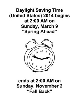 DAYLIGHT SAVING'S TIME INFORMATIONAL TEXT (NOT GRADE SPECIFIC)