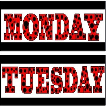 Days of the Week Headers in Red Black and White Polka Dot Theme