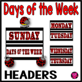 Days of the Week Labels Red Polka Dot