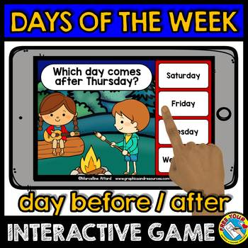 DAYS OF THE WEEK ACTIVITIES CAMPING THEME (DAYS OF THE WEEK GAME BOOM CARDS)
