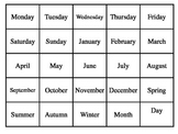 DAYS OF THE WEEK, MONTHS, AND SEASONS BINGO CLASS SET 25