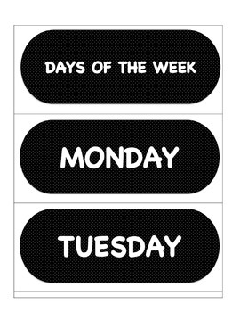 DAYS OF THE WEEK MONTHS OF THE YEAR