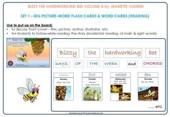 DAYS OF THE WEEK, TENSES, VERBS: TEACHING RESOURCE BIZZY THE HARDWORKING BEE