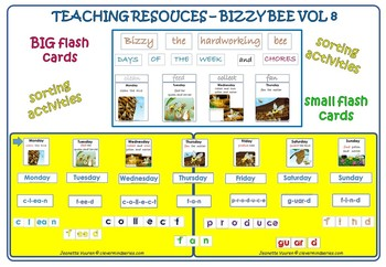 DAYS OF THE WEEK, TENSES, VERBS: TEACHING RESOURCE BIZZY THE HARDWORKING BEE