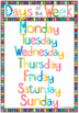 DAYS OF THE WEEK watercolor theme display