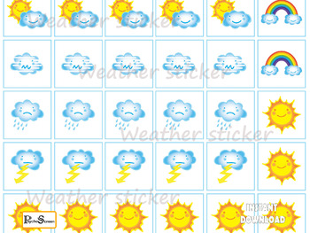 DAYS & WEATHER of the Week, Planner sticker pages, Kawaii Weather stickers