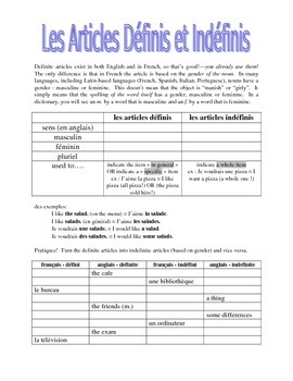 works w/ D'Accord 1 Unit 1 : definite and indefinite articles intro handout