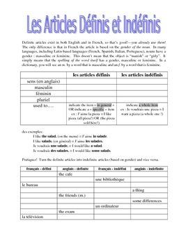 works w/ D'Accord 1 Unit 1 : definite and indefinite artic
