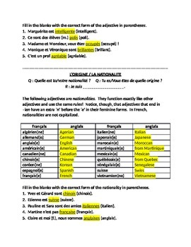 works w/ D'Accord 1 Unit 1B : Intro to Adjective Agreement (for any textbook)