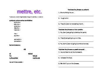 works w/ D'Accord 1 Unit 6 : METTRE and verbs like it
