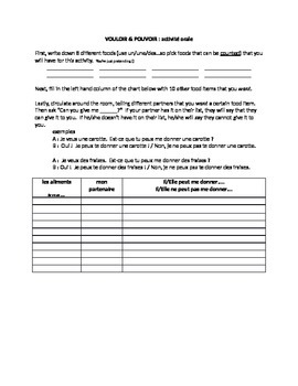 works w/ D'Accord 2 Unit 1 : speaking activity with food,