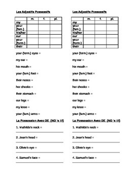 works w/ D'Accord 2, Unit 2A : practice with possession &