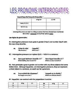 works w/ D'Accord 2 Unit 5 : interrogative pronouns intro & practice