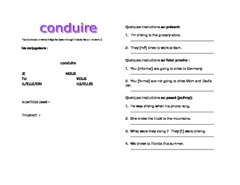 works w/ D'Accord 2 Unit 3 : introductory handout for the verb CONDUIRE