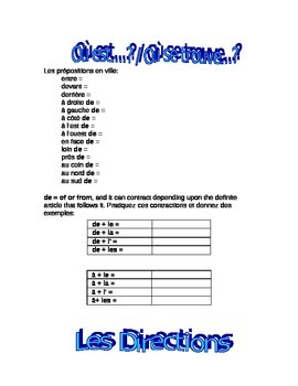 works w/ D'Accord 2 Unit 4B : directions/prepositions/vocabulary handout