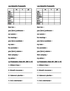 works w/ D'Accord 2, Unit 5B : practice with possession