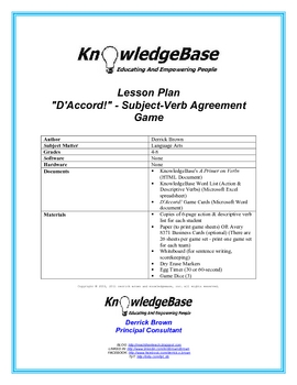 D'Accord! - Subject-Verb Agreement Game