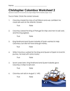 D'Aulaire Columbus Worksheets