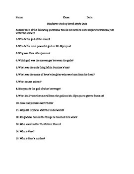 D'Aulaire's Book of Greek Myths quiz