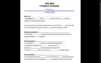 DBQ APEURO: Modified DBQ, DBQ Lecture, Thesis Worksheets, and Outline