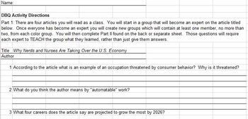 DBQ Activity for Labor and Wages