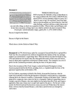 American Revolution: African Americans and the Revolutionary War: Mini DBQ