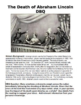 DBQ Assassination of Abraham Lincoln with Murder Report