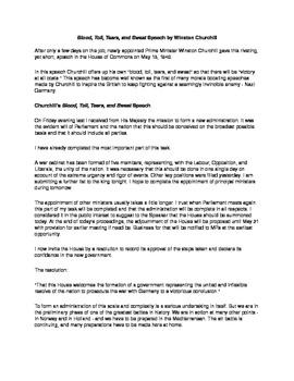 DBQ  Assignment Using Churchill's Blood, Toil, Tears and Sweat