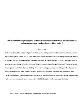 DBQ China Confucianism, Legalism, and Daoism